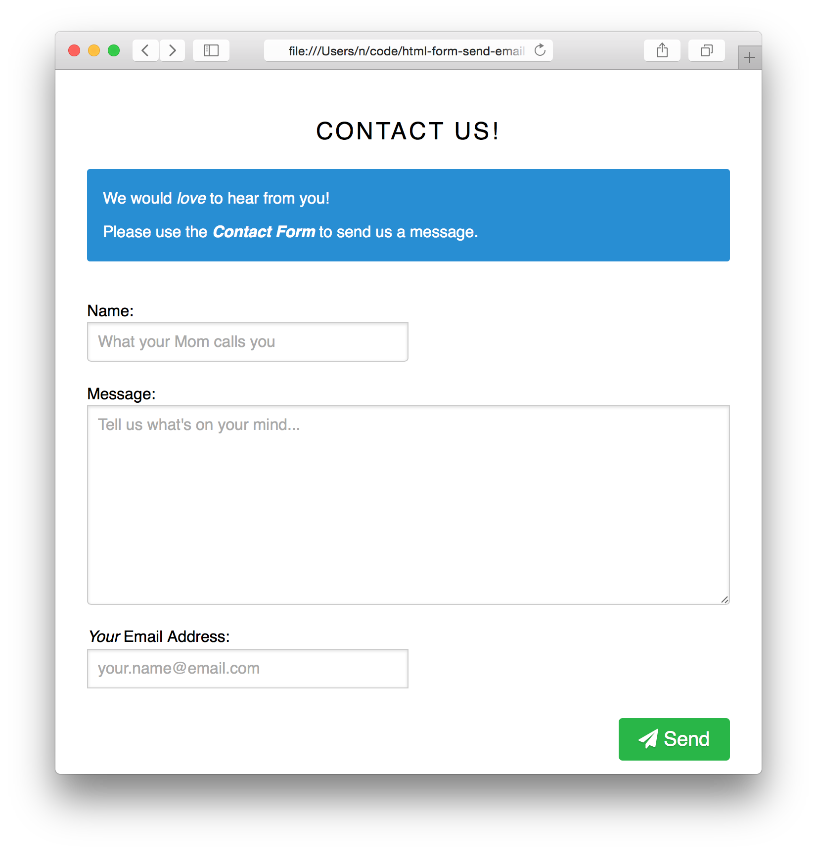contact form with pure css